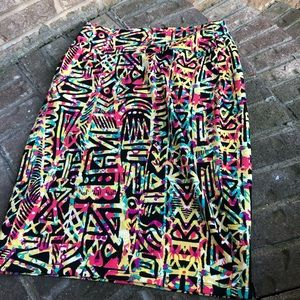 LuLaRoe multi color printed Skirt sz L